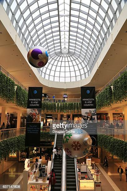 holiday decorations at the shopping mall, mall of america, bloomington, minnesota, usa - mall of america stock photos and pictures