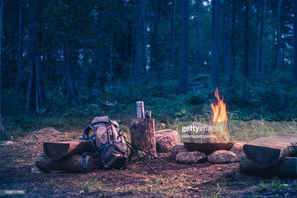 火事で森の旅の休日の行先 : ストックフォト