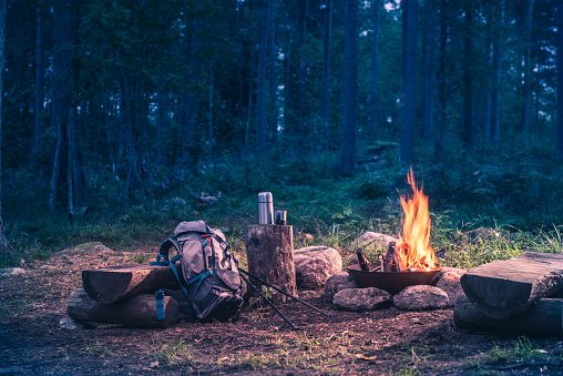 Holiday destination in a forest trip by the fire 1038217660