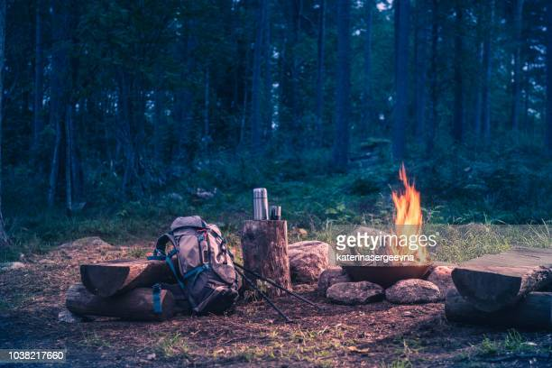 holiday destination in a forest trip by the fire - camping stock pictures, royalty-free photos & images