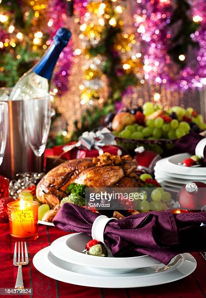 Holiday Dinner with Stuffed Turkey and Side Dishes
