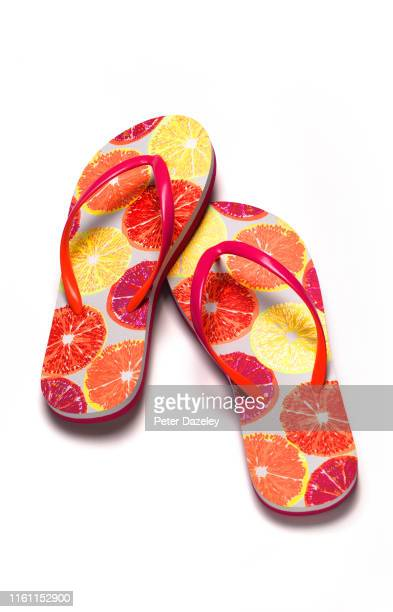 holiday flip flops - things that go together stock pictures, royalty-free photos & images