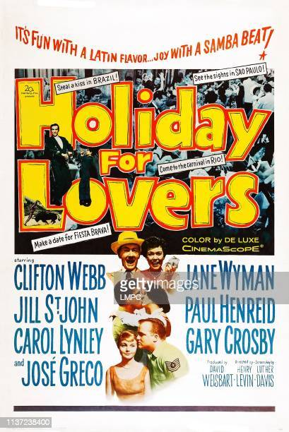 Holiday For Lovers poster US poster art couples top to bottom Clifton Webb Jane Wyman Nico Minardos Jill St John Carol Lynley Gary Crosby 1959