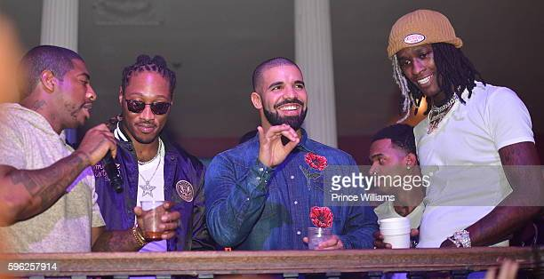 Holiday Future Drake and Young Thug attend the Summer Sixteen Concert After Party at The Mansion Elan on August 27 2016 in Atlanta Georgia