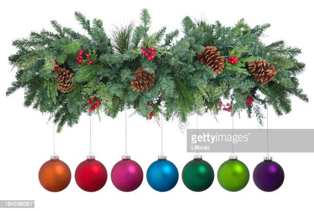 holiday garland - garland stock pictures, royalty-free photos & images