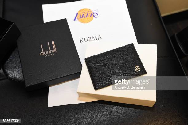 Holiday gift from the NBA is laid out for Kyle Kuzma of the Los Angeles Lakers before the game against the Minnesota Timberwolves on December 25 2017...