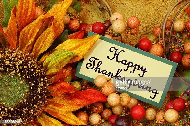 Holiday: Happy Thanksgiving en tag con girasol vida