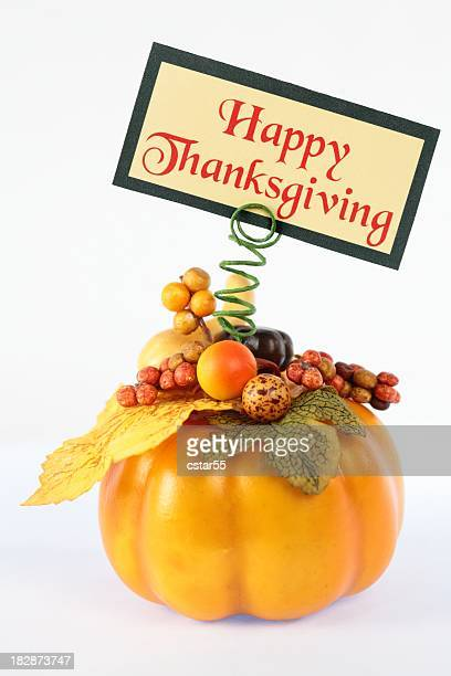 holiday: happy thanksgiving sign with pumpkin - happy thanksgiving card stock pictures, royalty-free photos & images