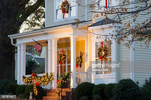 holiday home decorations - christmas garland stock pictures, royalty-free photos & images