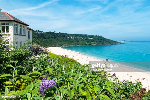 Holiday Home Overlooking The Beach At Carbis Bay Near St. Ives In Cornwall, England, Britain, Uk.