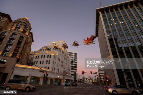 Holiday lights and decorations are seen in Beverly Hills on December 18, 2020 in Los Angeles, California.