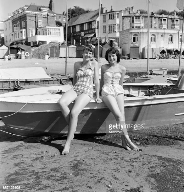 Holiday makers on the beach at Broadstairs, enjoying the sunshine. Two German girls on holiday, Ute Gundlach aged 15 from Kassel and Ingeborg Filla...
