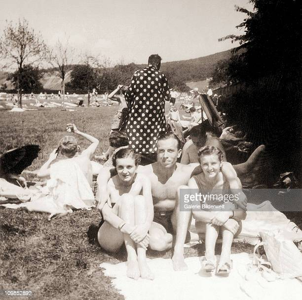 Holiday photograph from the personal album of Eva Braun taken in Bad Godesberg, Germany, 1937. The women are believed to be Eva and her younger...