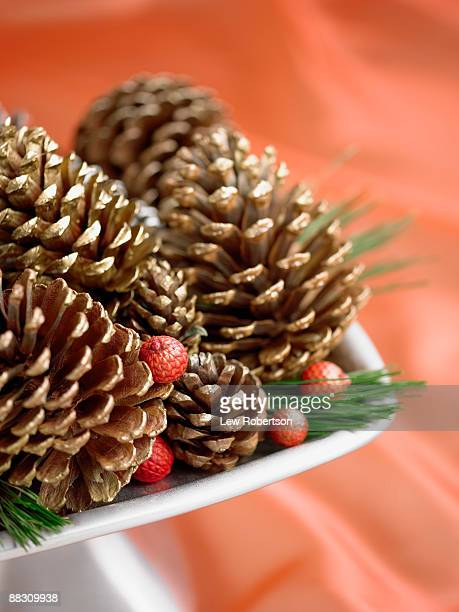 Holiday pine cones in arrangement