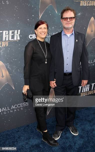 Holiday Reinhorn and actor Rainn Wilson attend the premiere of CBS's 'Star Trek Discovery' at The Cinerama Dome on September 19 2017 in Los Angeles...