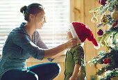 Holiday Season : Family decorating the christmas tree