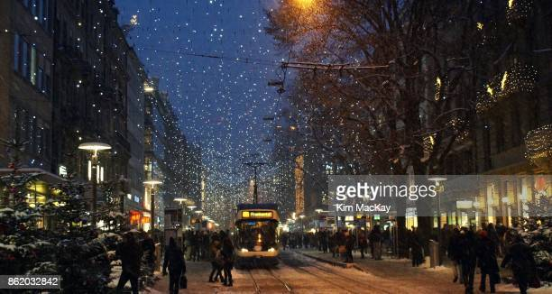 Holiday shoppers and lights in Zurich, Switzerland