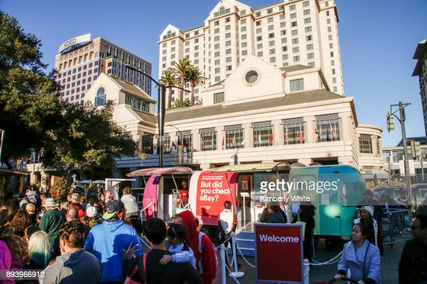 Holiday shoppers look at products for sale in eBay's Airstream at Plaza de Cessar Chavez on December 16 2017 in San Jose California