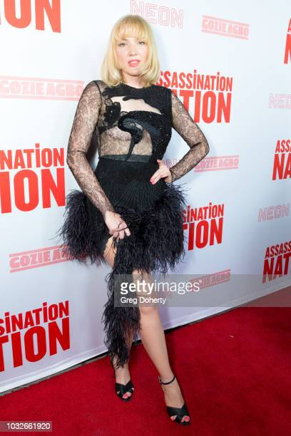Holiday Sidewinder attends the Premiere Of Neon And Refinery29's Assassination Nation at ArcLight Hollywood on September 12 2018 in Hollywood...