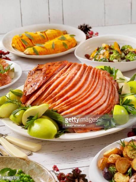 holiday spiral ham dinner - glazed ham stock pictures, royalty-free photos & images
