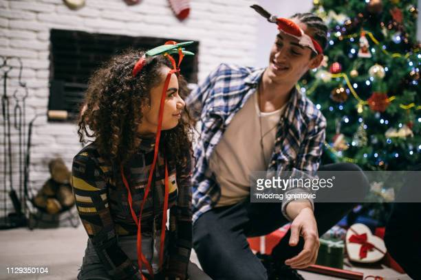 Holiday spirit between couple in love