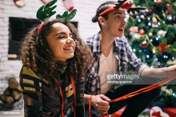 Holiday spirit between couple