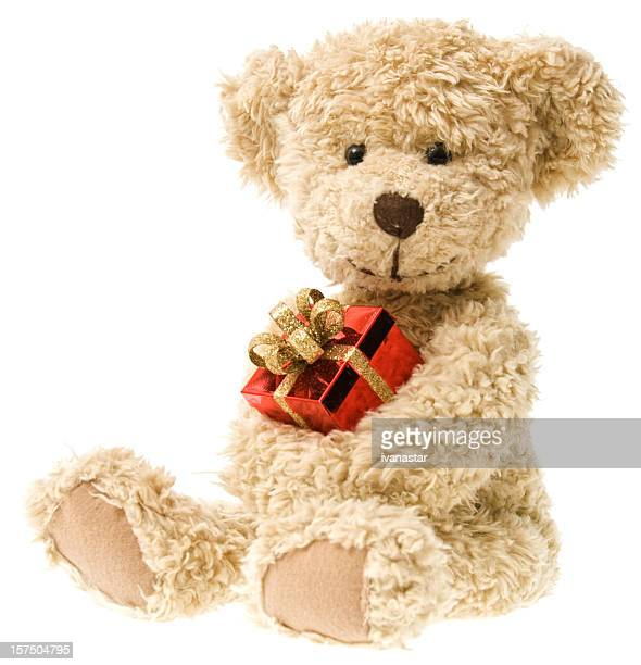 holiday teddy bear and christmas gift - teddy bear stock photos and pictures