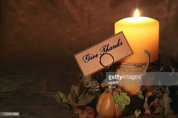holiday: thanksgiving autumn candle with tag4 - happy thanksgiving card stock pictures, royalty-free photos & images