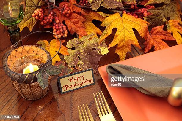 holiday: thanksgiving table setting with fall leaves, plate, candle, napkin - religious blessing stock pictures, royalty-free photos & images
