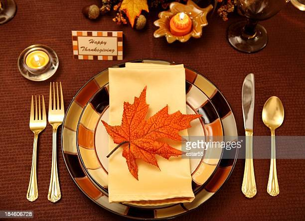 holiday: thanksgiving table setting with leaf and candles - happy thanksgiving card stock pictures, royalty-free photos & images