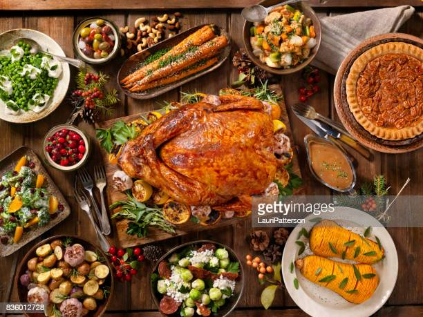 holiday turkey dinner - table stock pictures, royalty-free photos & images