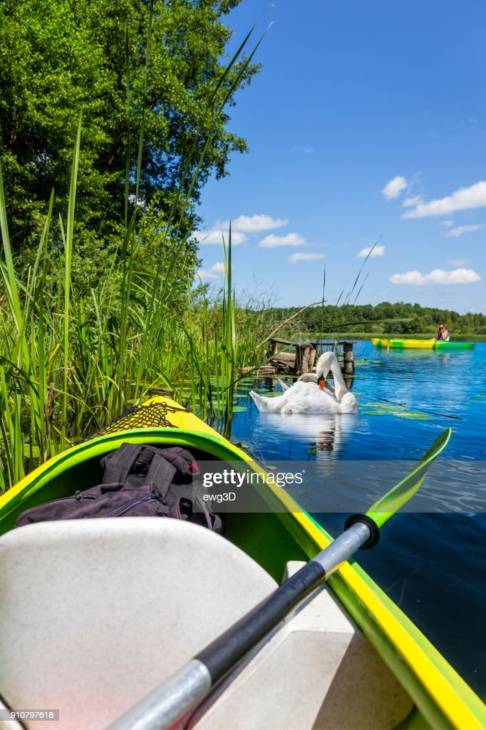 Holiday with a canoe in the Krutynia river in Masuria land, Poland : Stock Photo