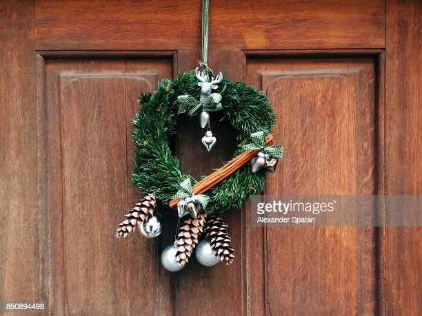 Holiday wreath on the door, Rothenburg ob der Tauber, Germany