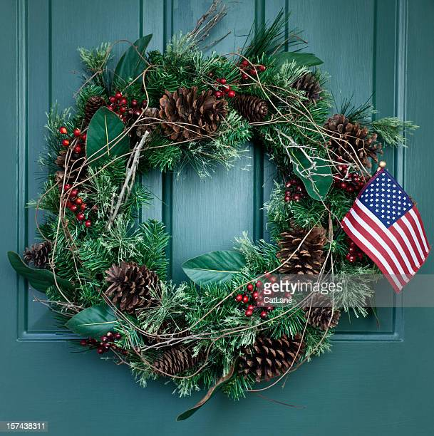 holiday wreath - patriotic christmas stock pictures, royalty-free photos & images