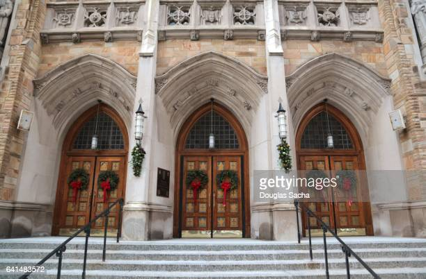 Holiday wreaths at the church entrance, Cleveland, Ohio, USA