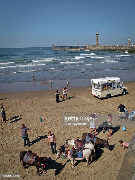 Holidaymakers and locals enjoying the sunshine on a warm summer's day on the beach in Whitby, North Yorkshire. There are also donkeys , an ice cream...