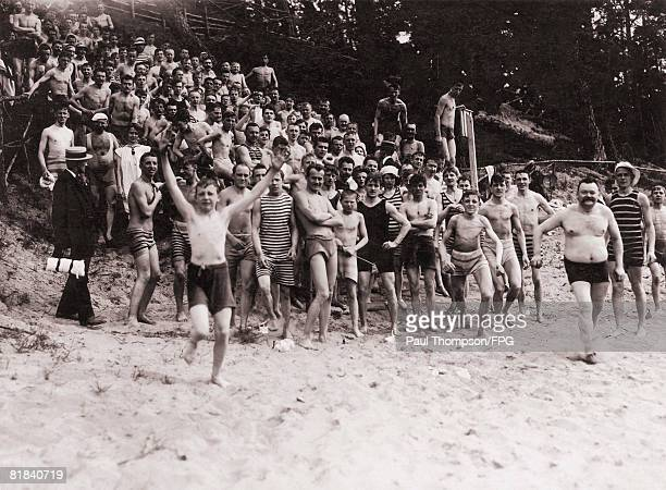 Holidaymakers at Wannsee a lake region in southwest Berlin circa 1910