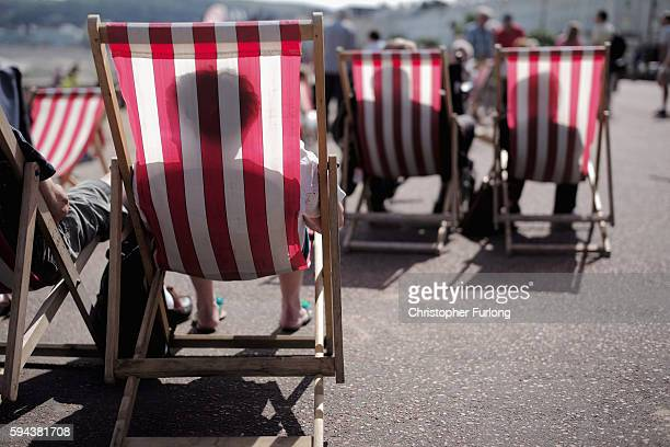 Holidaymakers bask in the sunshine and enjoy the fine weather on the North Wales coast at Llandudno on August 23 2016 in Llandudno Wales As many...