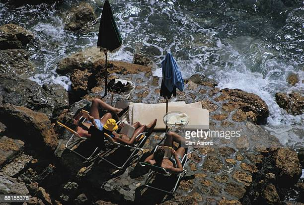 Holidaymakers by the sea at Porto Ercole Tuscany September 1966