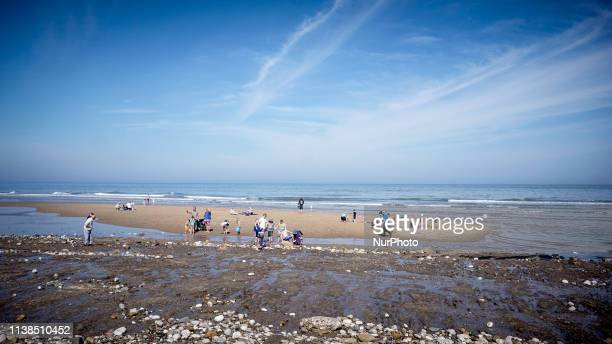 Holidaymakers enjoy the warm weather in Filey Beach on Easter Sunday 21 April 2019 The Met office has forecast a fine weather and warm Easter holiday...