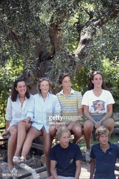 Holidaymakers in Porto Ercole Tuscany Italy August 1980 Back row left to right Stephanie von Watzdorf Natalie Abreu Miguel Abreu and Allegra Corsini...