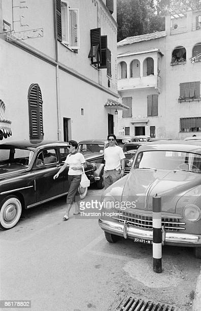 Holidaymakers in the tourist resort of Portofino Italy August 1952 Original Publication Picture Post 6023 unpub