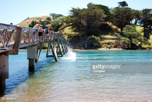 holidaymakers jumping at pataua bridge, whangarei district, northland, new zealand - whangarei heads stock pictures, royalty-free photos & images