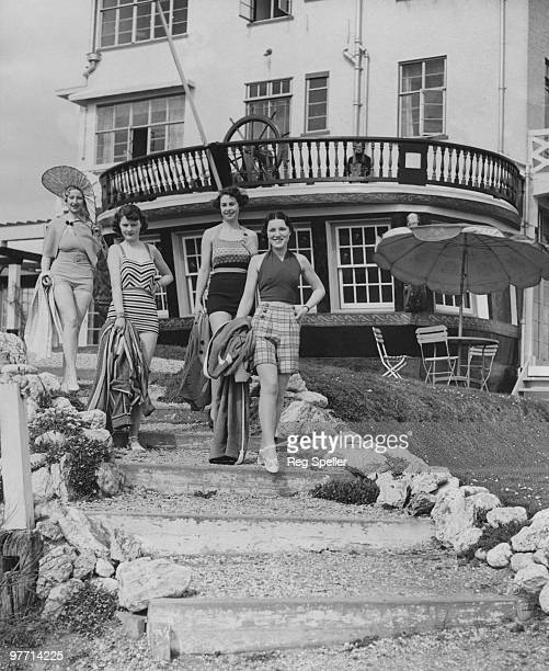 Holidaymakers leave the famous Burgh Island Hotel on Burgh Island South Devon 19th April 1935 The island was once used by smugglers and the hotel...