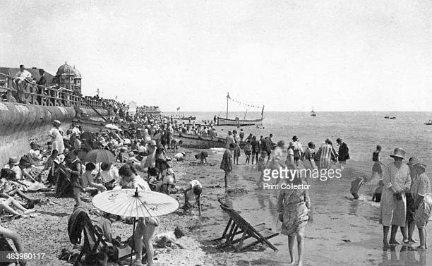 Holidaymakers on Bognor Regis seafront West Sussex c1900s1920s
