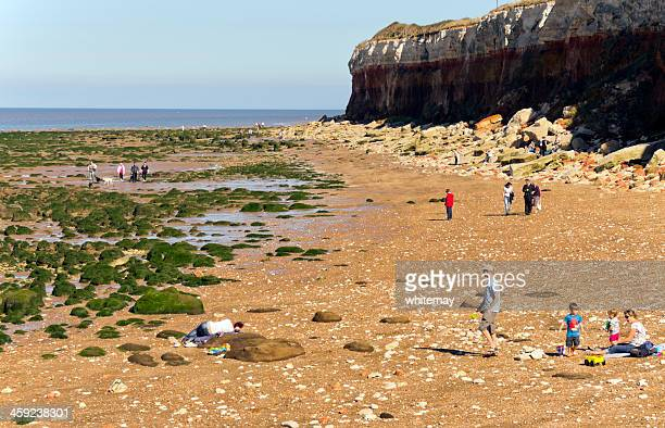 Holidaymakers on Hunstanton beach
