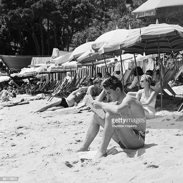 Holidaymakers on Paraggi Beach near the tourist resort of Portofino Italy August 1952 Original Publication Picture Post 6023 unpub