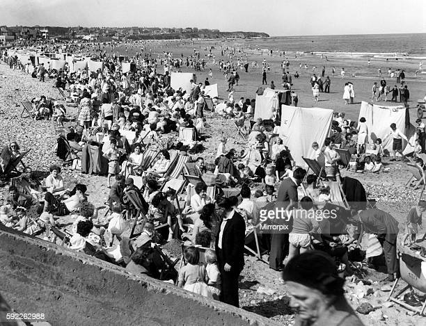 Holidaymakers on Saltburn Beach 31st May 1960