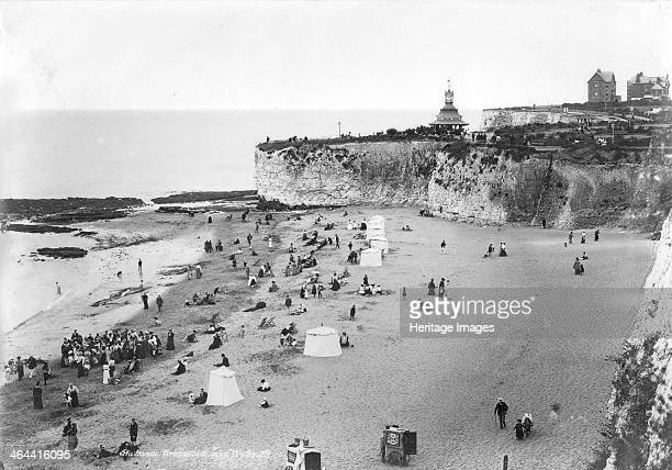 Holidaymakers on the beach at Broadstairs Kent 18901910 The tented beach huts enabled bathers to change in privacy
