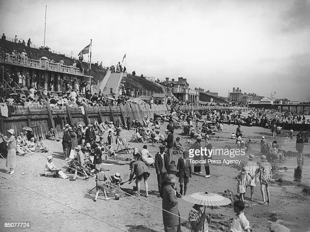 Holidaymakers on the beach at Lowestoft Suffolk August 1926